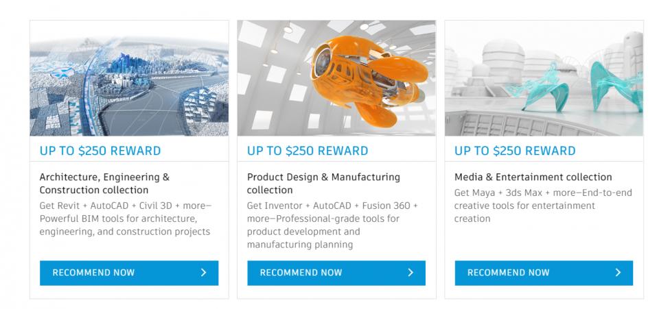 Recompensas en licencias de 3dsMax, Maya, Autocad o Revit de Autodesk